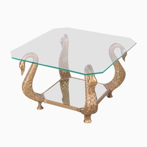 Vintage Italian Coffee Table with Golden Swans, 1970s