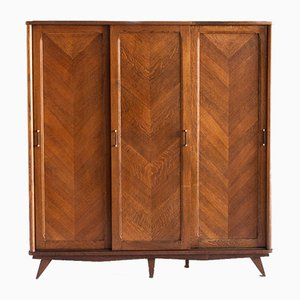 Oak Wood Wardrobe with Three Sliding Doors, France, 1960s