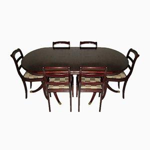 Englischer Esstisch im Regency Stil mit 6 Stühlen, 7er Set