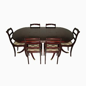 English Regency Style Dining Table with 6 Chairs, Set of 7