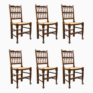 Antique Lancashire Chairs in Beech with Spindle Back Seats, 1910s, Set of 12