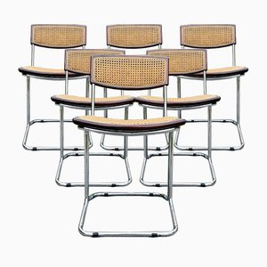 Mid-Century Esszimmerstühle aus Schilfrohr im Stil von Cesca, Italien, 1980er, 6er Set