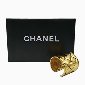 Vintage Gold Quilted Cuff Bracelet from Chanel