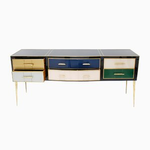 Mid-Century Modern Solid Wood and Colored Glass Sideboard, Italy