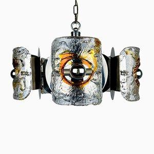 Lámpara de araña Mid-Century de cristal de Murano ámbar y cromo de Toni Zuccheri para Mazzega, Italia, años 70