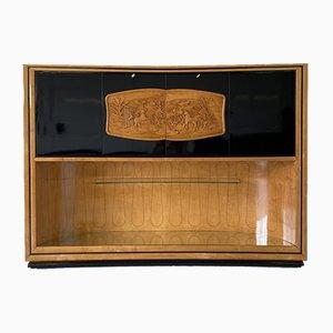 Italian Art Deco Maple and Black Lacquered Bar Cabinet by Vittorio Dassi, 1940s