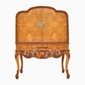 Mueble bar antiguo de madera nudosa de nogal de Hille, años 20