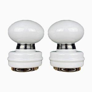Weiße Vintage Tischlampen, Italien, 1980er, 2er Set