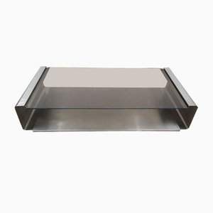 Stainless Steel and Glass Coffee Table by Francois Monnet for Kappa, 1970s