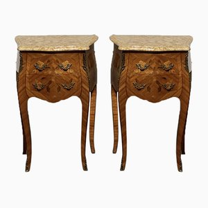 French Marquetry Bedside Chests of Drawers, Set of 2