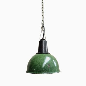 Vintage Green Enamel Lamp with Bakelite