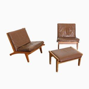 Ge-375 Leather Chair & Ottoman Set by Hans J. Wegner for Getama, Set of 3