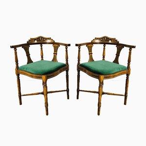 Sedie ad angolo edoardiane antiche in mogano intarsiato, inizio XX secolo, set di 2