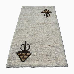 Tappeto berbero tunisino in lana beige fatto a mano