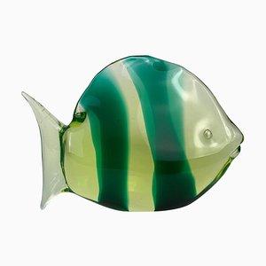 Mid-Century Murano Glas Fisch mit grünen Biegungen