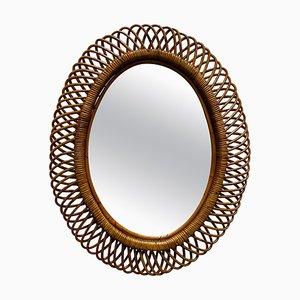 Specchio da parete Mid-Century in vimini e bambù di Franco Albini, Italia