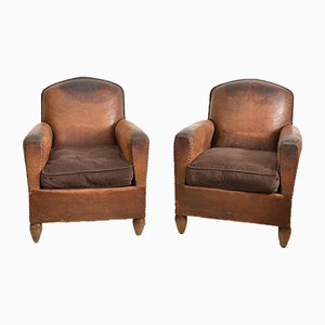 Club chair in pelle, Francia, set di 2