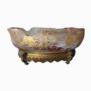 Large Enamelled Glass and Bronze Cup from Rousseau and Leveillé