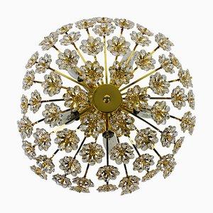 Deckenlampe aus vergoldetem Messing & Kristallglas von Palwa, Deutschland, 1970er