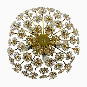 Gilt Brass and Crystal Glass Flush Mount from Palwa, Germany, 1970s
