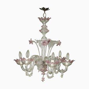 Lámpara de araña de cristal de Murano soplado y coloreado