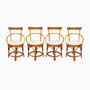 Vintage Bambus Esszimmerstühle, 4er Set