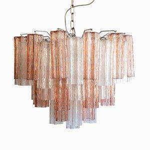 Lámpara de araña Tubi italiana en rosa y cristal de Murano