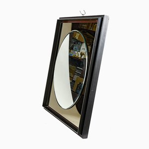 Round Mirror with Square Frame in Black Lacquered Wood, 1980s