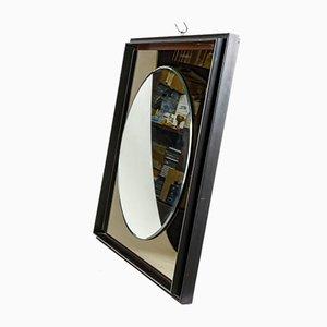 Specchio rotondo con cornice quadrata in legno laccato nero, anni '80