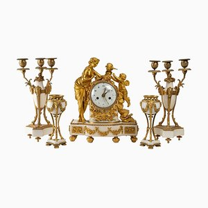Gilded Bronze and White Marble Trim Mantle Set, 19th Century, Set of 5