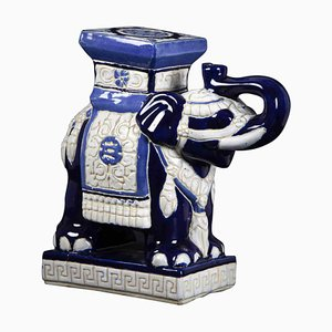 Vintage Blue Elephant of the Good Luck Ceramic Sculpture, 1970s