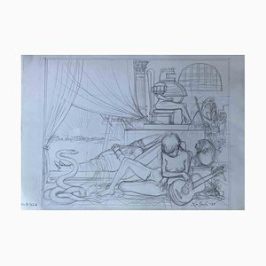 Leo Guida, The Room of the Castle, Original Drawing, 1977