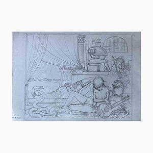 Leo Guida, The Room of the Castle, Original Zeichnung, 1977