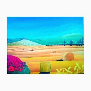 Pintura al óleo original de Sabrina Pugliese, Matera Countryside, 2018