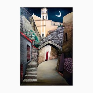 Sabrina Pugliese, The Village and the Moon, Original Painting, 2017