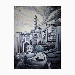 Sabrina Pugliese, Matera in the 1950s, Original Oil Painting on Canvas, 2017