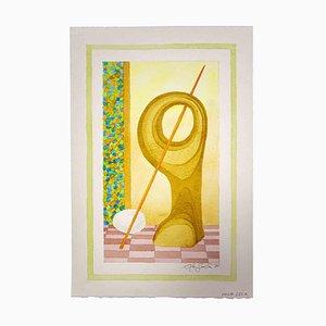 Leo Guida, Composizione, Disegno originale ad acquerello, 1985