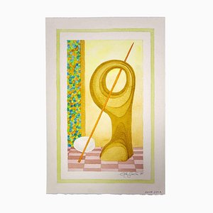 Leo Guida, Komposition, Original Zeichnung in Aquarell, 1985