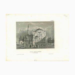 Litografia antica della moschea del sultano Selim a Costantinopoli, metà XIX secolo