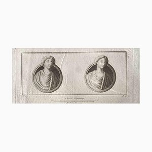 Ancient Roman Busts, Original Etching, Late 18th Century