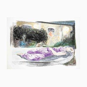 Ennio Calabria, Presenze in giardino, Litografia originale, 1985
