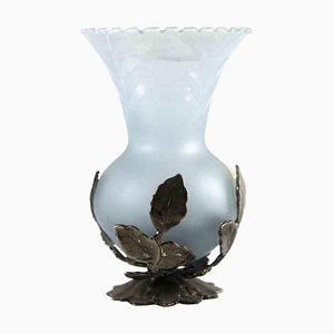 One Flower Glass and Silver Small Vase, Italy, Mid-20th Century