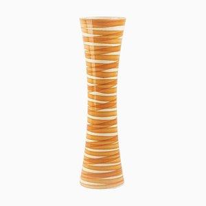 Gestreifte Vintage Vase in Orange, Italien, 1970er