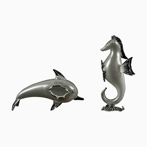 Vintage Glass Dolphin and Seahorse, 20th Century, Set of 2
