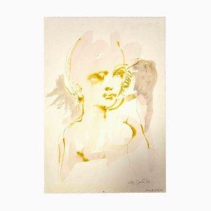 Leo Guida, Portrait, Dessin Original à l'Encre et à l'Aquarelle, 1963