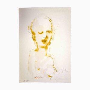 Leo Guida, Portrait, Original Ink and Watercolor Drawing, 1963
