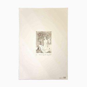 Leo Guida, Frau mit Signalen, Original Radierung, 1989