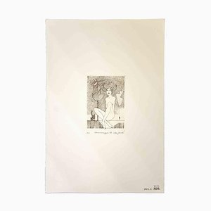 Leo Guida, Woman With Signals, Original Etching, 1989