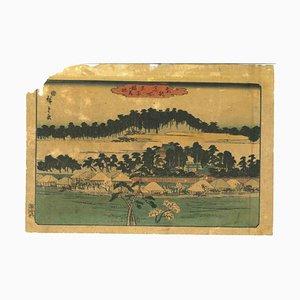 Utagawa Hiroshige, paisaje japonés, grabado en madera original, siglo XIX