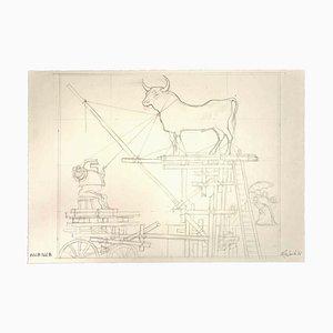 Leo Guida, The Structure, dibujo original, 1977